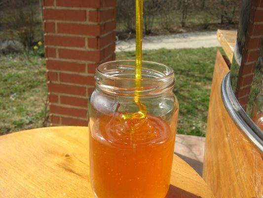 remplissage d'un pot de miel