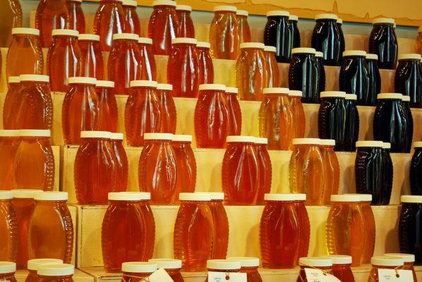 couleurs plusieurs pots de miel différents