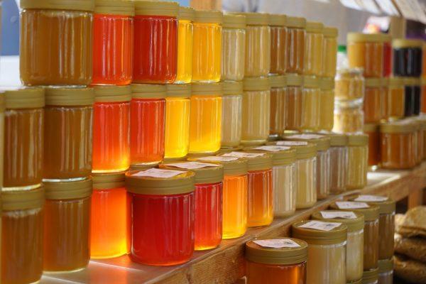 rayonnage de miels en pot imports
