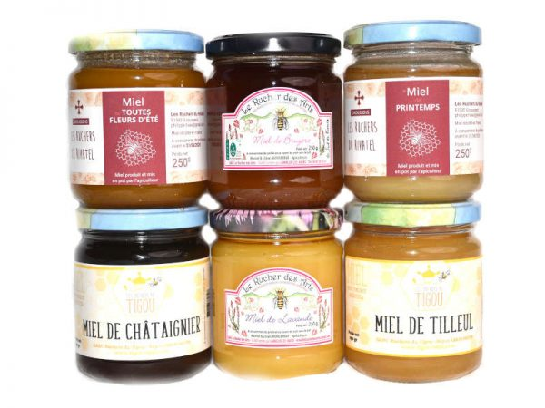 """Photo du coffret """"amateur"""" : assortiment de 6 pots de miels 250g de 3 ruchers de miel-direct"""