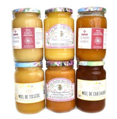 """Photo du coffret """"amateur"""" : assortiment de 6 pots de miels 500g de 3 ruchers de miel-direct"""