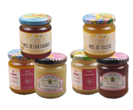coffret amateur, 6 pots de miel de 250g