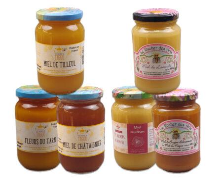 coffret connaisseur, 6 pots de miel de 500g
