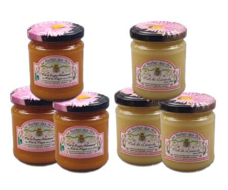 coffret méditerranée, 6 pots de miel de 250g