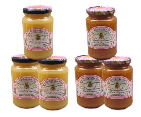 coffret méditerranée, 6 pots de miel de 500g
