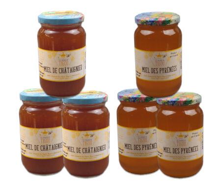 coffret montagne, 6 pots de miel de 500g