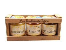 Coffret cadeau 3 pots de miel 250g