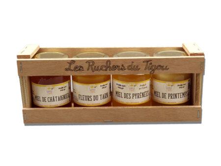 Coffret bois 4 pots de miel de 125g